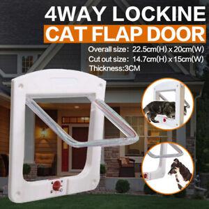 4 Way Locking Lockable Brushy Small Pet Dog Cat Transparent Flap Windows Door AU