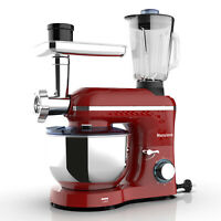850W 6 Speed Stand Mixer 3 in 1 Tilt-Head w/ 7QT Bowl Meat Grinder Blender Red