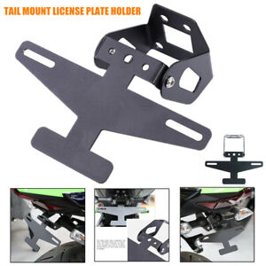 1×Motorcycle Modified Straight Tail License Plate Holder Bracket Foldable Angle