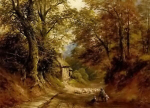 Oil painting George Turner - the old cottage littleover lane landscape shepherd
