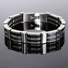 Black Fashion Silver Men Silicone Stainless Steel Chain Wristband Link Bracelet