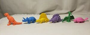 "6 Vintage/New! DIENER ""Dinosaurs"" PENCIL ERASER lot @ T-REX/Pteranodon/CERATOPS"