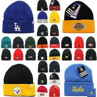 New Sport Embroidered Team Knit Beanie Cap Logo Apparel NFL NBA MLB NHL Winter
