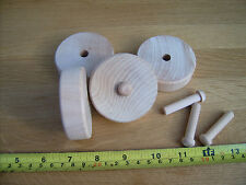 "10x Wooden toy slab wheels + axles. Wooden wheels 2"" (50mm) flat both sides."