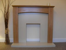 ELECTRIC OAK MANTEL CREAM HEARTH / BACK FLAT WALL MOUNTED FIRE FIREPLACE SUITE
