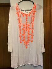 Woman's Lucky & Coco White w/ Orange Embroidery Long Blouse Sz M