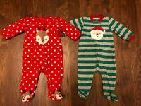 LOT of 2 CARTERS BABY GIRLS size 3-6 month Fleece Sleepers Pajamas CHRISTMAS D20
