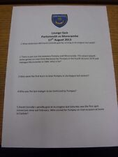 17/08/2013 Portsmouth V Morecambe-Lounge Quiz pregunta Hoja, Hoja Individual. th