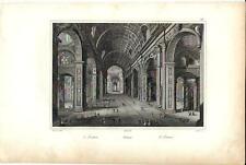 Stampa antica ROMA Basilica di San Pietro interno 1834  Old print Engraving Rome