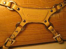 CHRISTIAN DIOR Paris Tan Buckle Strap Crocodile Print Clutch Handbag