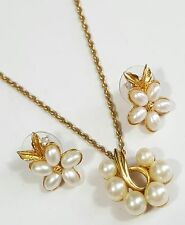 Jewelry Lot Of 2 Necklace Earrings Richelieu GoldTone Chain Faux Pearl Weddin...