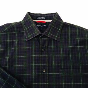 Men Hilfiger Stretch Purple Plaid Button-up Shirt Size L Green check Long Sleeve