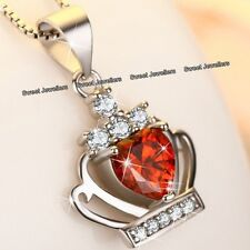 925 Silver & Red Crystal Diamond Heart Crown Necklace - Xmas Gifts For Her Women