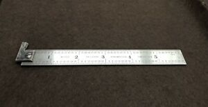 """Vintage STARRETT No 303 Rigid 6"""" Steel Rule / Scale with Hook. Made in USA"""