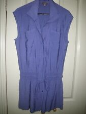 New Katies 14 Blue Top Silky Rayon Pocket Front Pleat Long Sleeveless