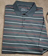 Nike Golf Drifit-Gray Perform.Poly Stripe, Mens Ss/3B Summer Golf Shirt-(Xl)