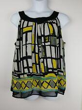 Ashley Stewart Plus sz 1X Tunic Top multi-color geometric print sleeveless lined