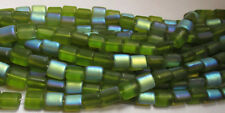 50 Czech Glass Curved 8mm Square Peridot Green AB Beads