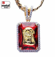 Mens 14kt Gold Plated Mini Jesus on Ruby Pendant Miami Cuban Chain BCH 1104