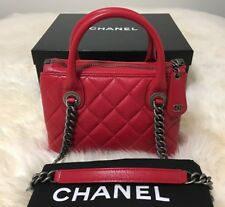 $3400 Authentic Chanel Boy Chained Mini Tote/ Shoulder Bag In Red Calfskin
