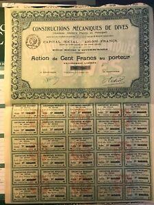 Constructions Mécaniques de DIVES SUR MER - Action de 100 Frs - 1922