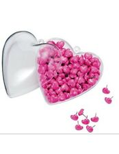 "Office Depot® 400ct Heart-Shaped Push Pins In Matching Container, 1/2"", Pink,400"