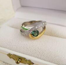 NEW 18K Retail $1250 HEAVY WHITE YELLOW GOLD TOURMALINE DIAMOND RING Size 5