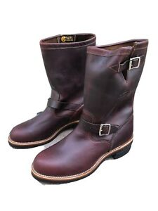 NIB Chippewa Cordovan Engineers Men's Brown Leather Boots, Made in USA, US11.5