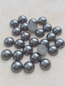 Halbperlen Acryl 10mm Grau, Menge wählbar