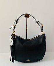 Coach Sutton Pebbled Leather Hobo Handbag Black