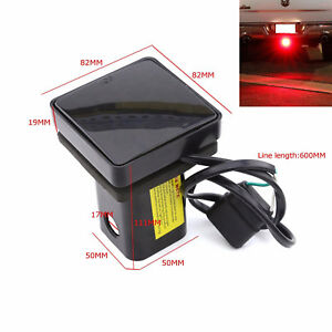"""12LED Truck Pickup Tail Light Smoke 2"""" Trailer Receiver Hitch Cap Cover Red Lamp"""