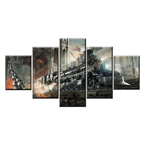 Sci Fi Steampunk Retro Train 5 Panel Canvas Print Poster Wall Art Home Decor