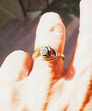 Vintage Ring Diamond Solitaire 14 Kt gold Yellow Size 5 Engagement Anniversary