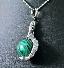 Silver Malachite Mermaid Pendant Necklace w/Free Jewelry Box and Shipping