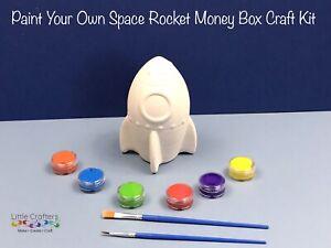 Paint Your Own Ceramic ROCKET Money Box Space Kids Art Craft Kit ~ Painting Set