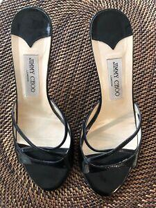 Jimmy Choo Sandals Women's Size 38 Black Patent Kitten Heel Slip On