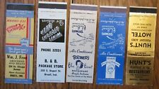 BRAZIL, INDIANA: LOT OF 5 MATCHBOOK MATCHCOVERS (1940-50s) -F