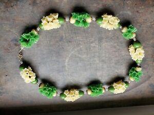 Great vtg 1930s green & cream glass flower necklace likely Czech 2 ft