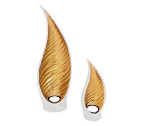 Teelichthalter Weiß Gold Windlicht Keramik Kerzenhalter Teelichtschale Teelicht
