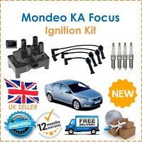 For KA Mondeo Fiesta Focus C Max Igniton Coil Pack Spark Plugs HT Leads Set New