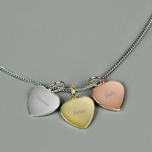 Personalised Gold, Rose Gold and Silver 3 Hearts Necklace Add Names