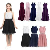 Girls Long Dress Princess Toddlers Pageant Party Sequins Bridesmaid Wedding Gown