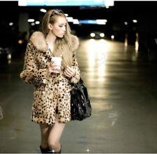fashion Damen Winterjacke Fellmantel Kunstfell Mantel Mitterler Lang Leopard