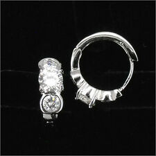 18K W Gold Plated Costume Jewelry Wedding Party Earring Hoop CZ Clear Round Cut