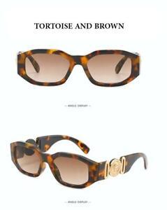 European Designer Retro Rectangular Medusa Sunglasses Tortoise/Brown Lenses