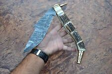 "HUGE 18.50""INCH SPANISH NAVAJA,Damascus steel blade ,FOLDING KNIFE ,STAG HANDLE"