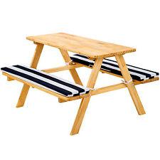 Table bancs de pique-nique meubles enfants bois jardin avec coussins blue blanc