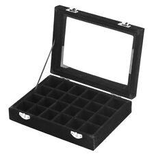 Velvet Glass Jewelry Ring Display Organizer Tray Holder Earrings Storage Case