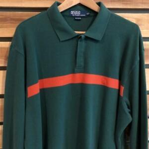 EUC Mens VTG 90s Green/Orange Polo Ralph Lauren Pony L/S Rugby Shirt 2XL/3XL