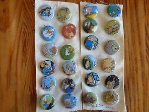 Tintin Round Safety Pin Badges - individual purchase